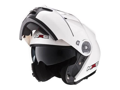 Casco Moto Rebatible Doble Visor Elite Solid Blanco Brillo MAC